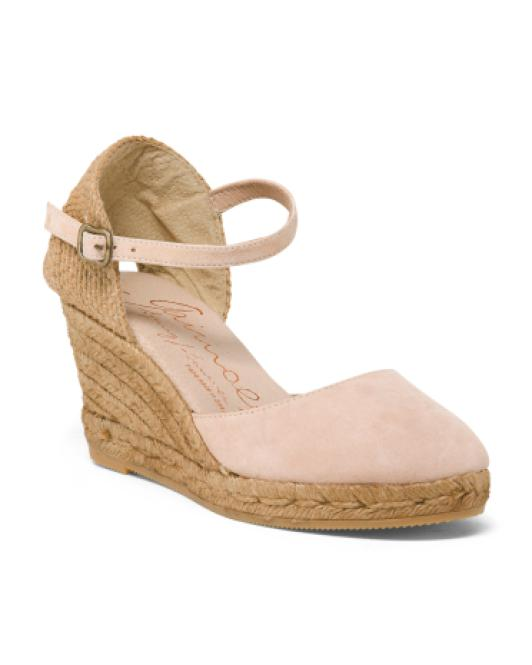 f2509a04bd96 Lyst - Tj Maxx Made In Spain Closed Toe Suede Wedges in Pink