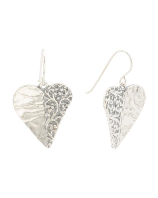 61a5d5e67d058 Tj Maxx - Metallic Made In Israel Sterling Silver Hammered Heart Earrings -  Lyst