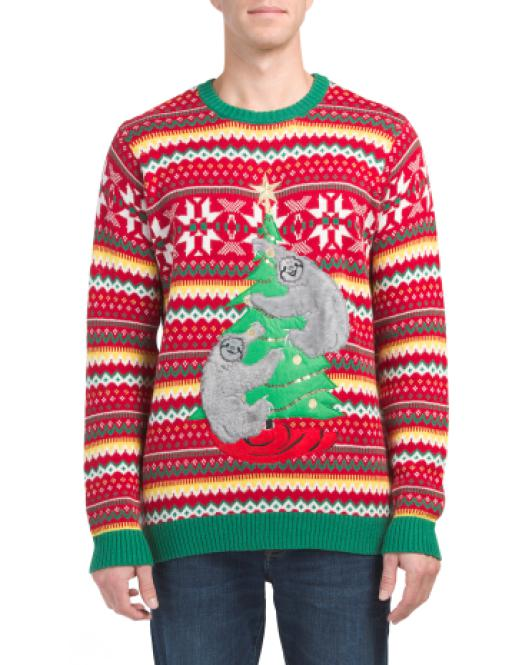 Lyst Tj Maxx Sloths Decorating Tree Christmas Sweater In Red For Men