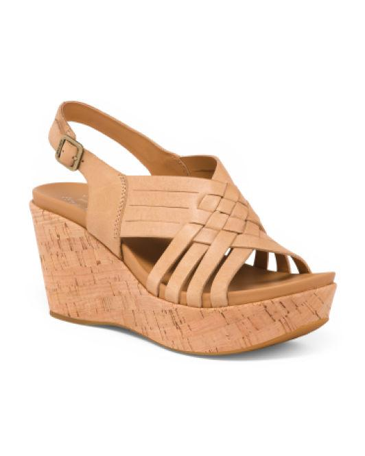 eafbee4d5d Lyst - Tj Maxx Cork Wedge Leather Sandals in Natural