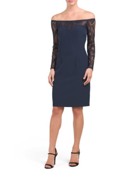 ce9315f6d6e25 Lyst - Tj Maxx Long Sleeve Lace Dress in Blue