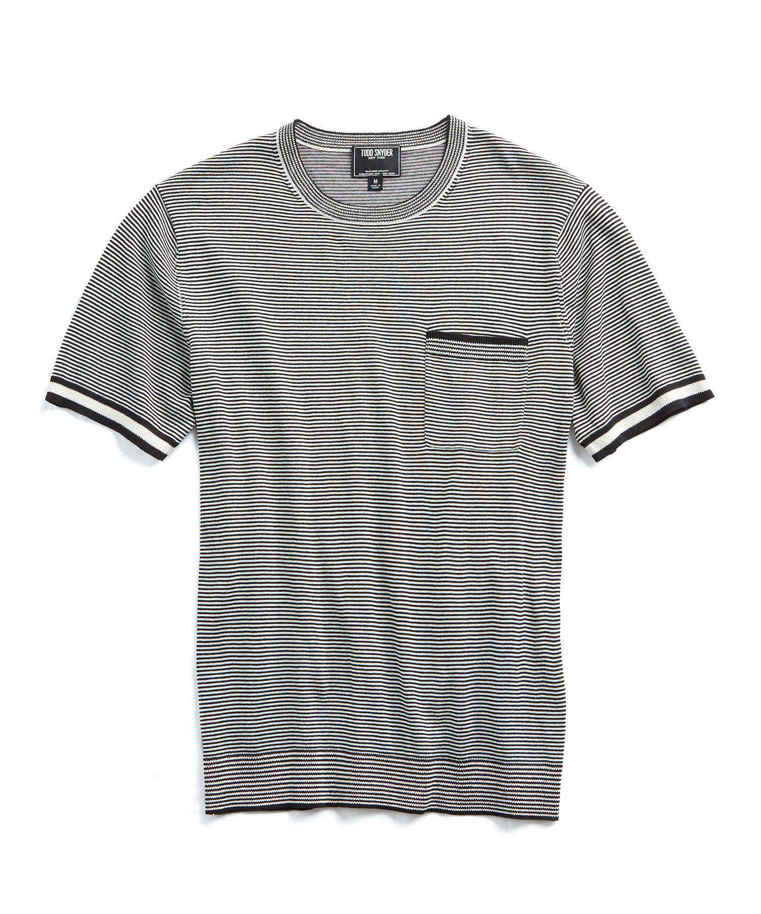 66e17d80 Todd Snyder Italian Silk/cotton Feeder Stripe Short Sleeve Knit ...