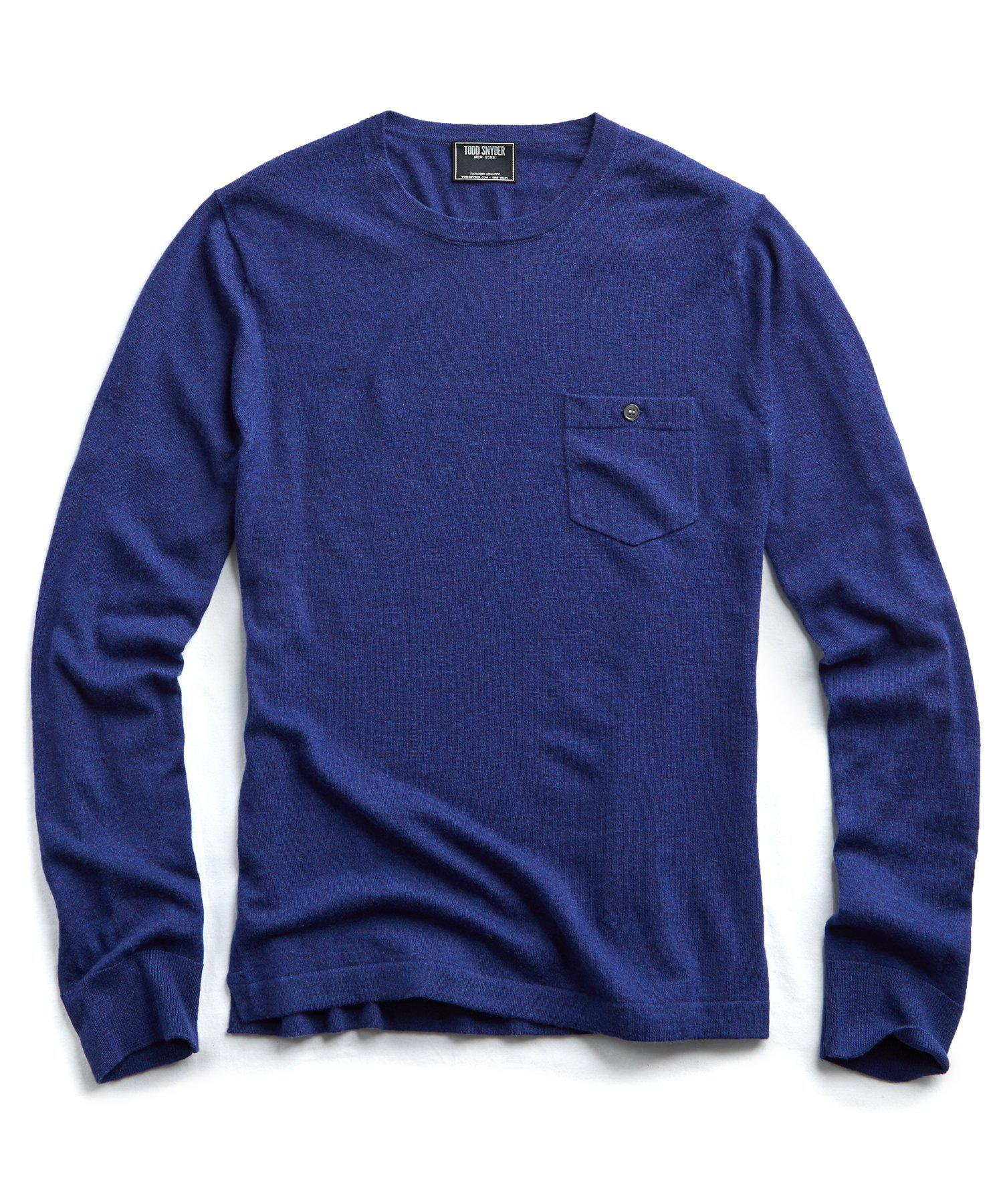 cbc2035a5a0bff Todd Snyder - Cashmere T-shirt Sweater In Blue Heather for Men - Lyst. View  fullscreen