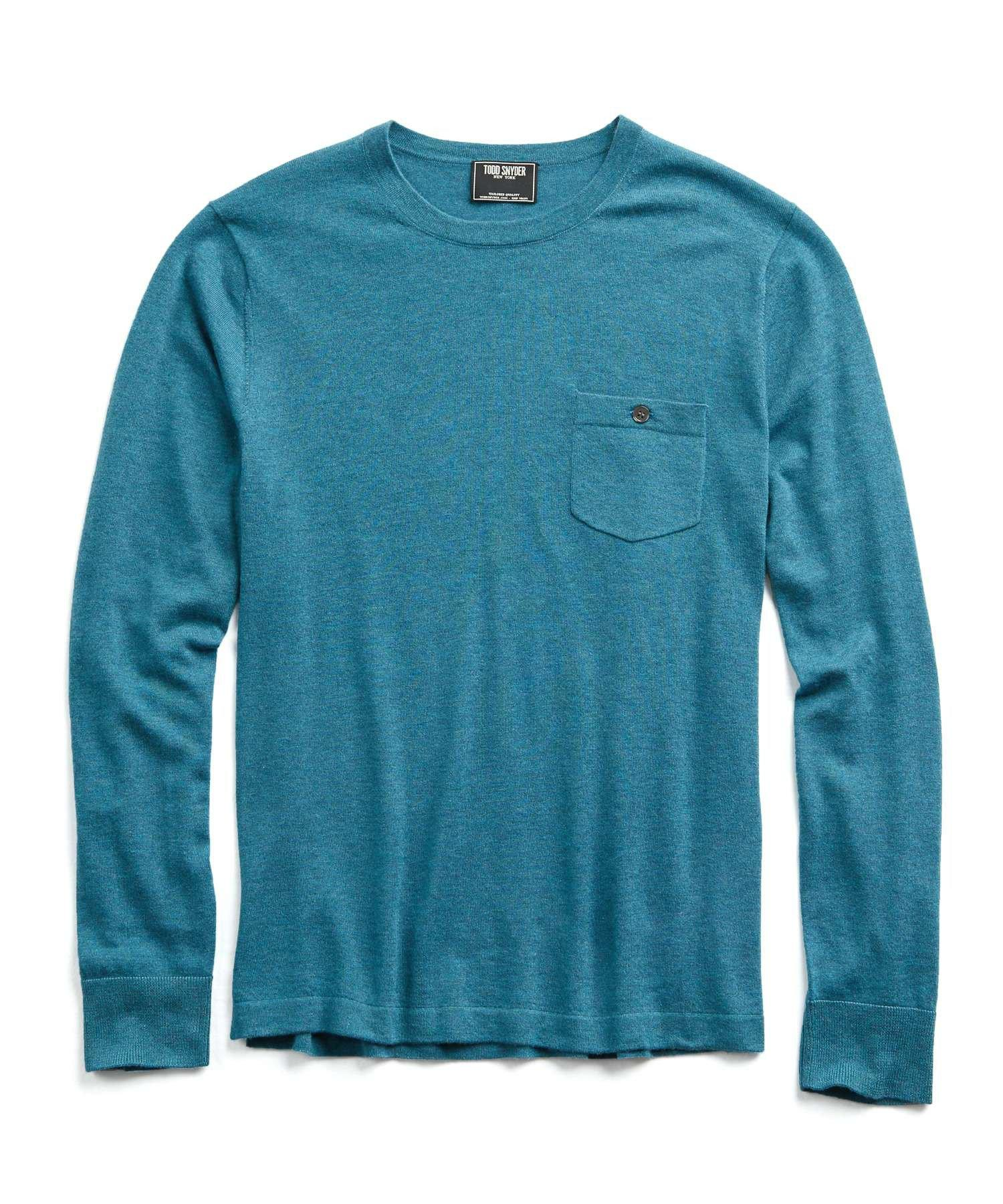 f5b436cbea2c31 Lyst - Todd Snyder Cashmere T-shirt Sweater In Turquoise in Blue for Men