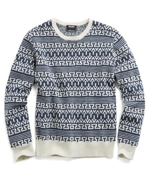 Lyst - Todd snyder Wool Fairisle Sweater In Navy/cream in Blue for Men