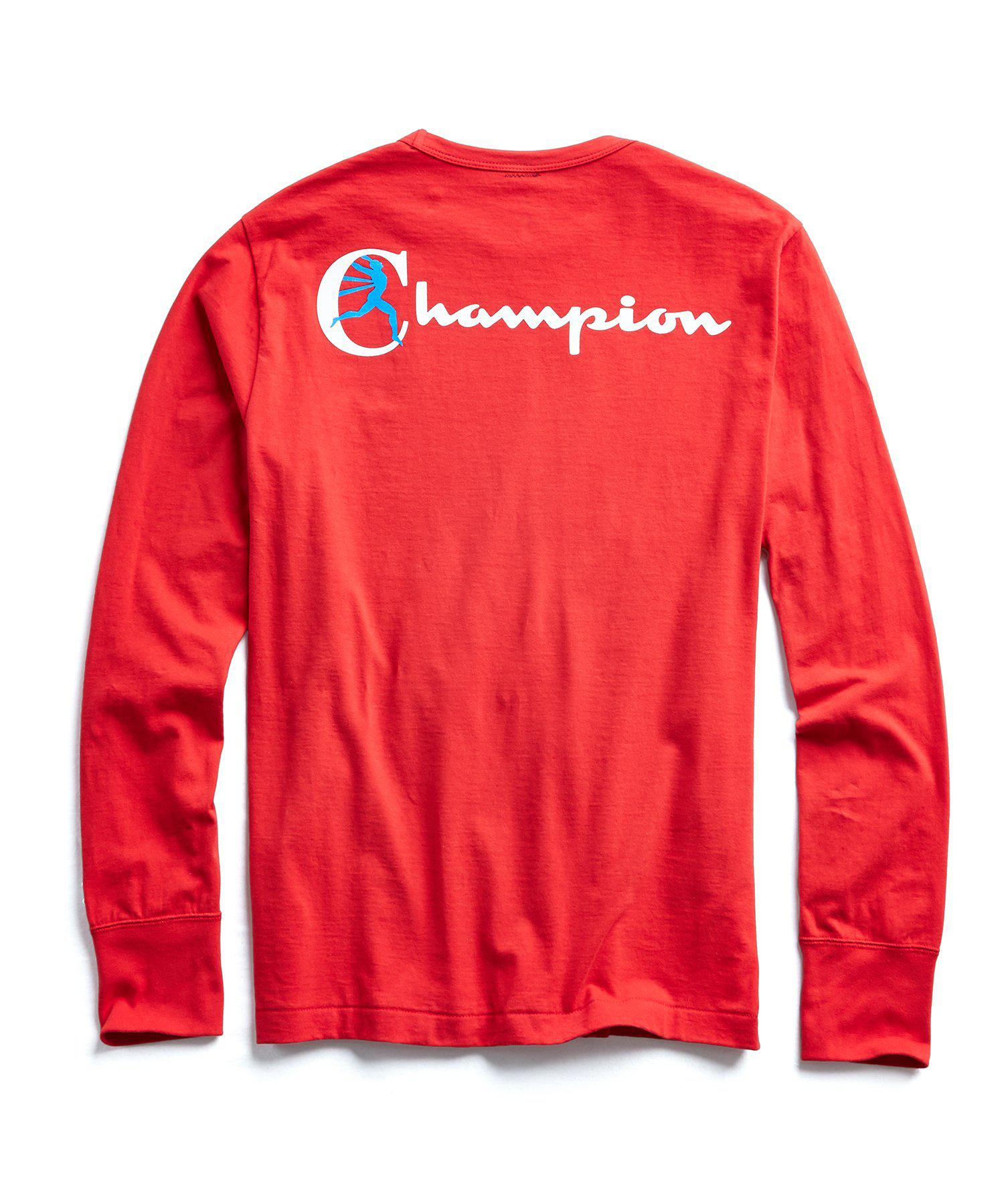 c4e49411f Lyst - Todd Snyder Champion Long Sleeve Back Graphic In Red in Red ...
