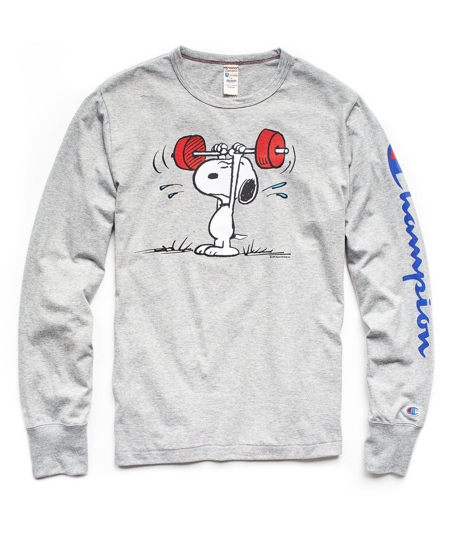 4a7207f6 Todd Snyder Champion X Peanuts Long Sleeve Snoopy Weightlifting T ...