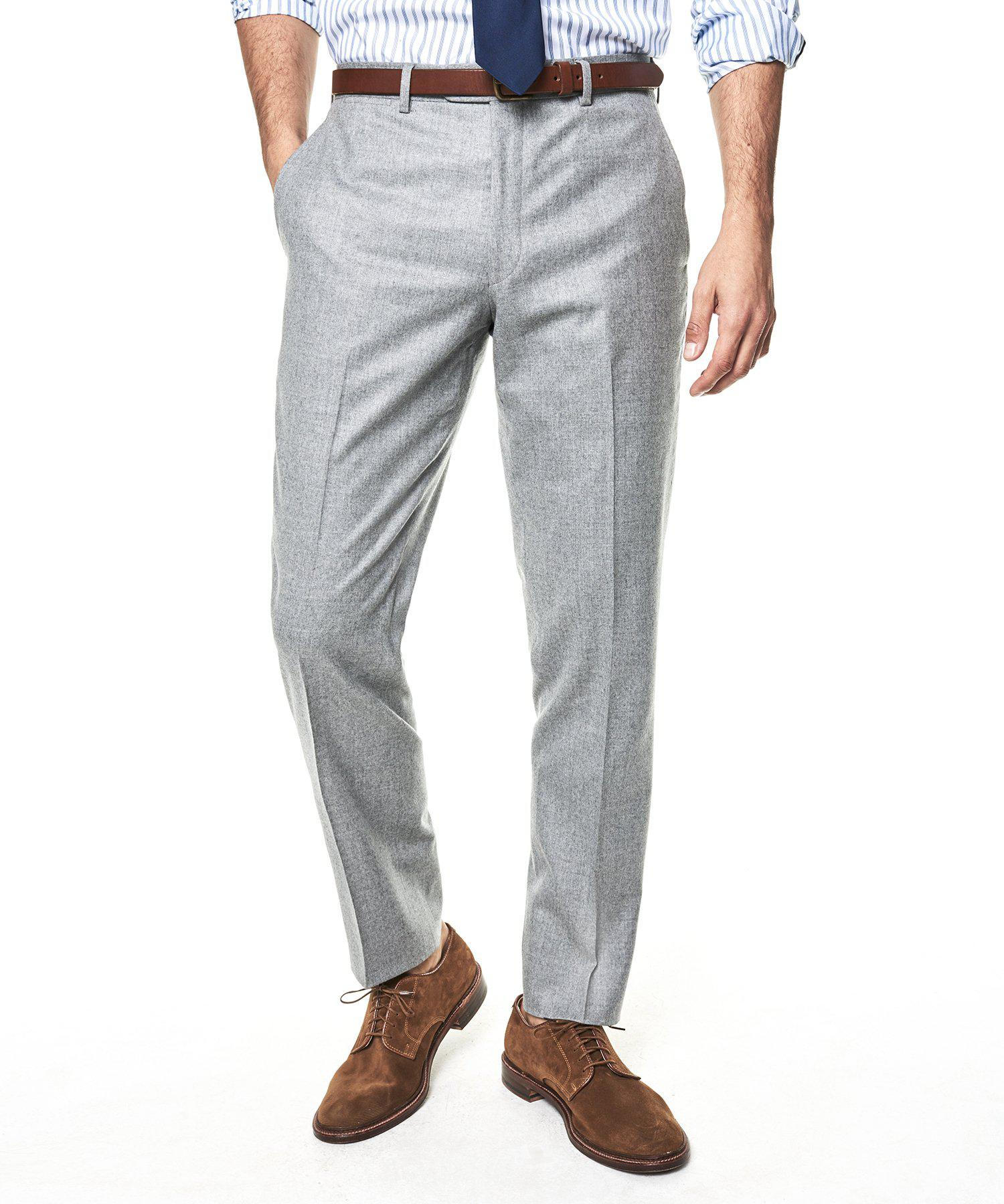 c256be9013cace ... Gray Sutton Suit Pant In Italian Light Grey Heather Wool Flannel for Men.  View fullscreen