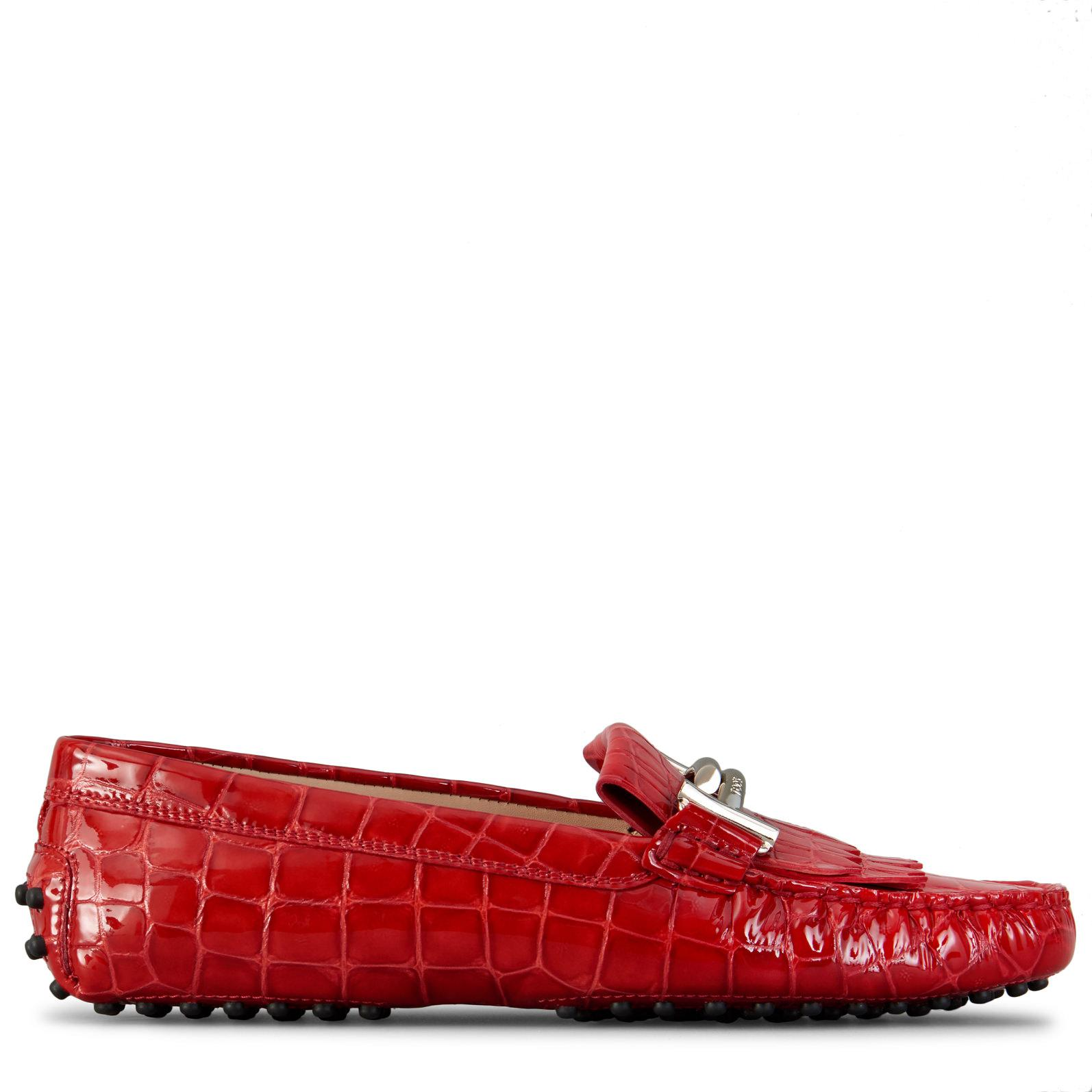 5da7c8018c9 Tod s - Red Gommino Driving Shoes In Croc-embossed Patent Leather - Lyst