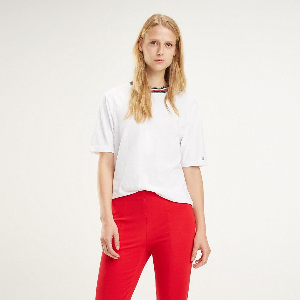 d7c23905 Tommy Hilfiger Rib-knit Collar T-shirt in White - Lyst