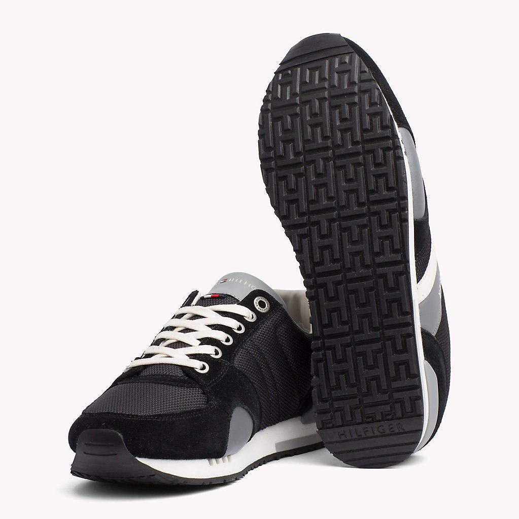 16d8c3521e240f Tommy Hilfiger Colour-blocked Material Mix Trainers in Black for Men ...