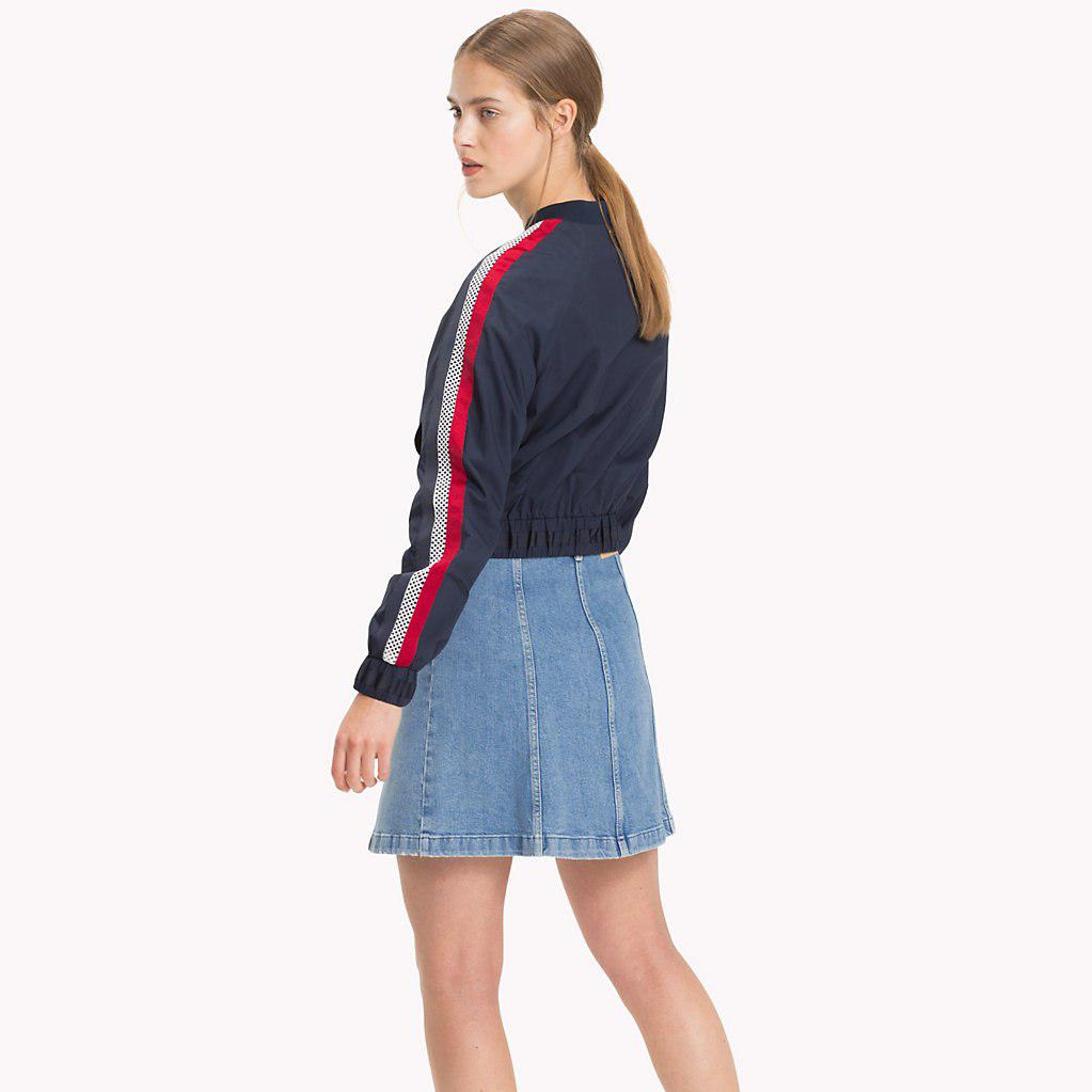65ee622a9cc Tommy Hilfiger Signature Tape Detail Bomber Jacket in Blue - Lyst