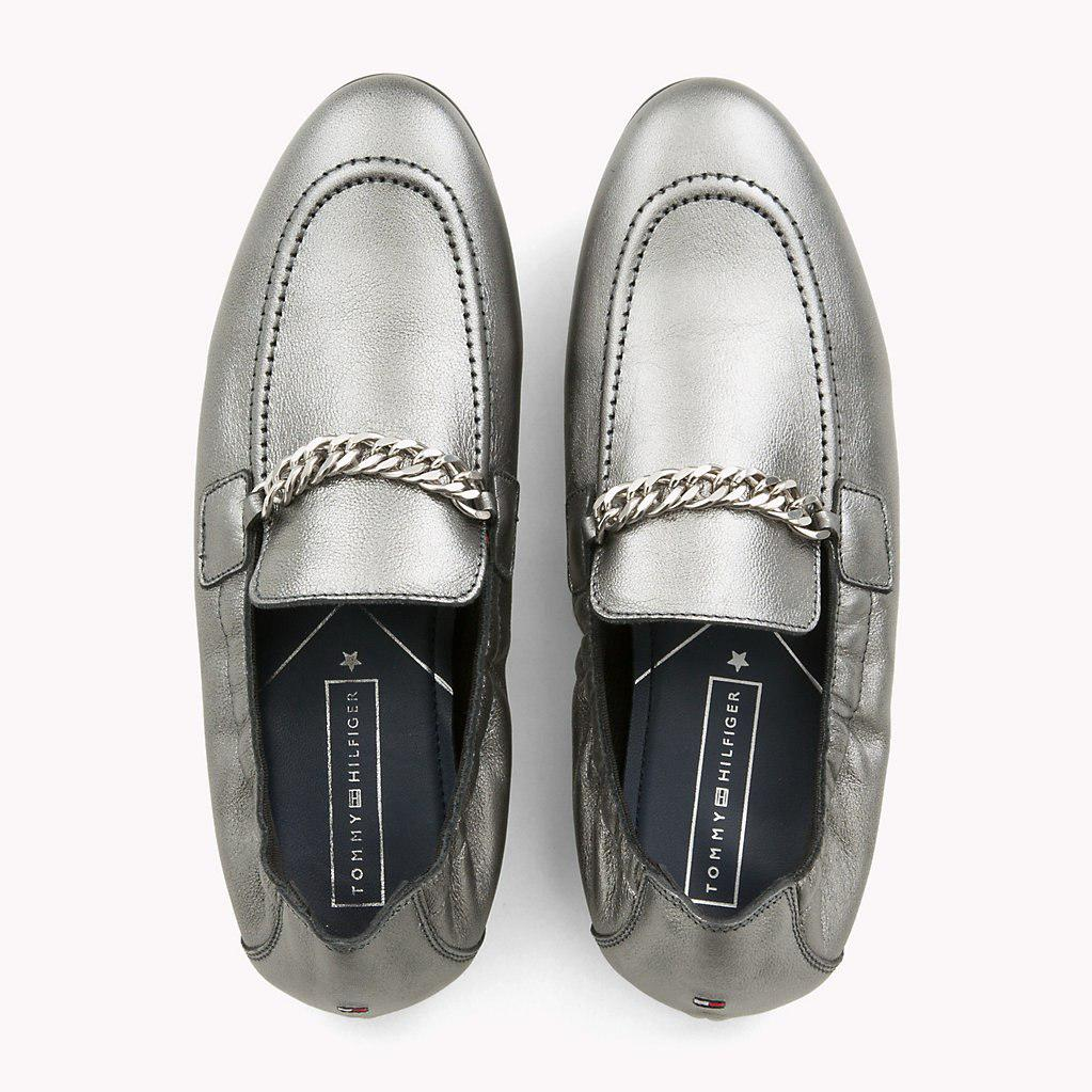 8d019371783d Tommy Hilfiger - Rubberised Chain Detail Metallic Loafers - Lyst. View  fullscreen