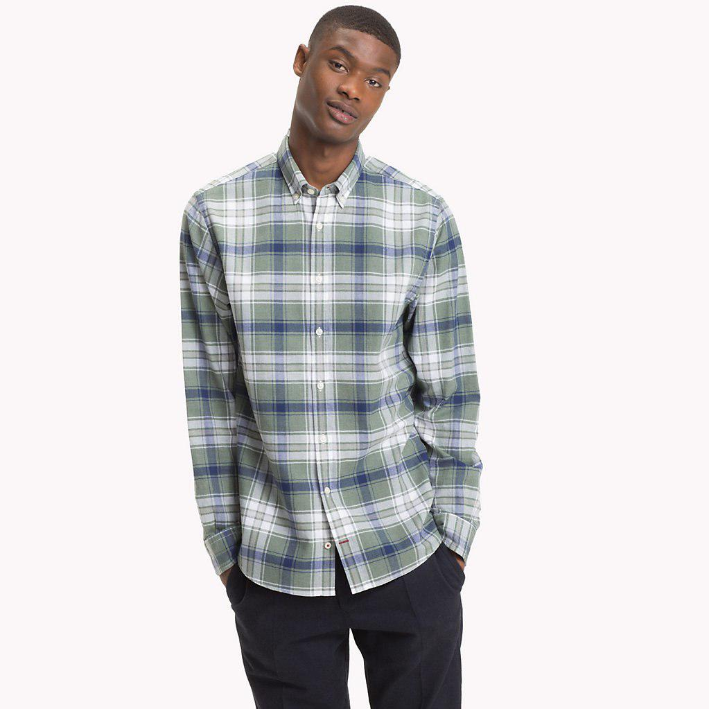 9db457a29 Tommy Hilfiger - Green Plaid Check Herringbone Shirt for Men - Lyst. View  fullscreen