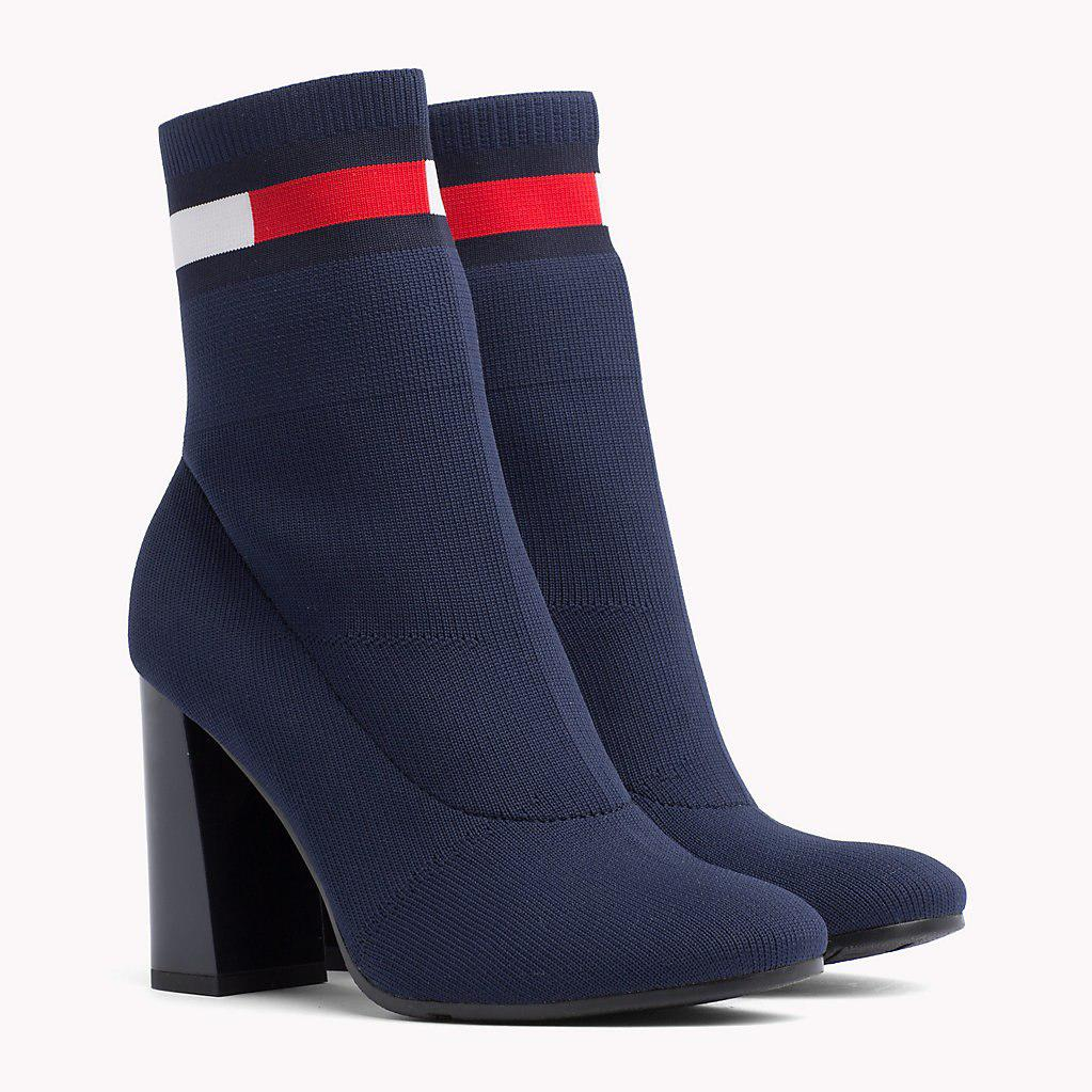 e017fb0f4 Tommy Hilfiger Flag Heeled Sock Boots in Blue - Lyst