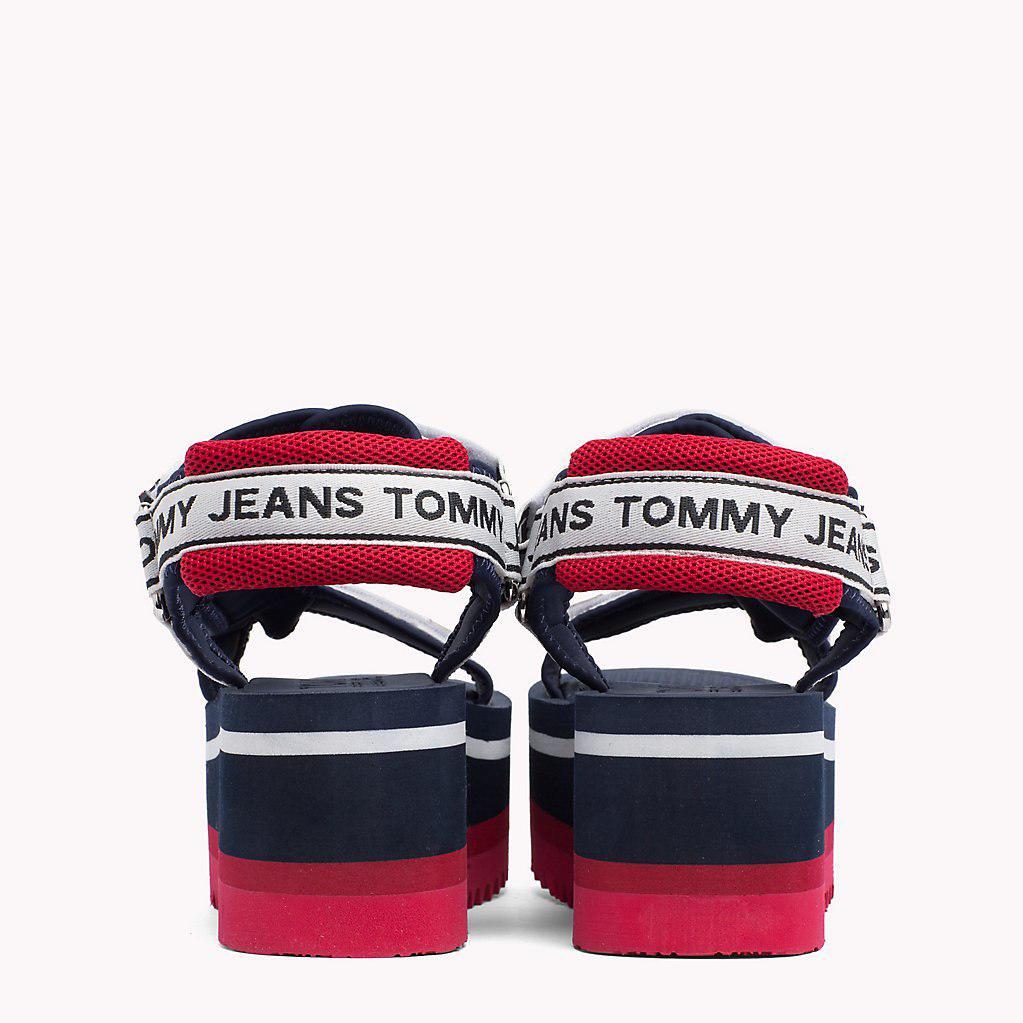 32d5cb1c87e9 Tommy Hilfiger Signature Tape Flatform Sandals in Blue - Lyst