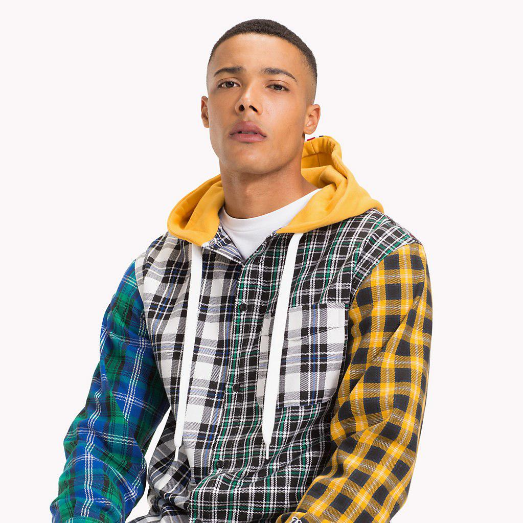 678a80f0 Tommy Hilfiger Lewis Hamilton Check Hoodie Shirt in Yellow for Men ...