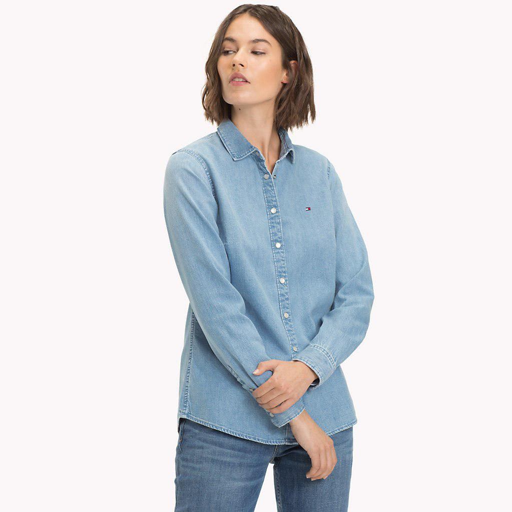 954582ebdd41 Tommy Hilfiger Light Wash Denim Shirt in Blue - Lyst