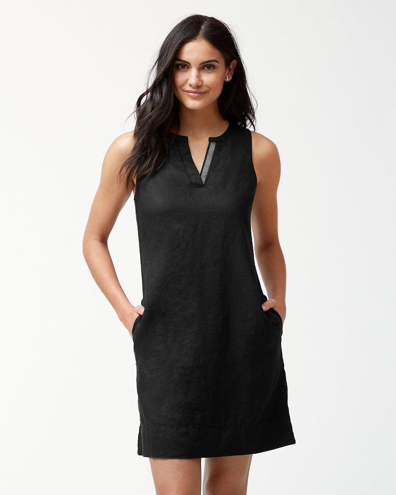 aefc973806f Lyst - Tommy Bahama Sea Glass Linen Shift Dress in Black