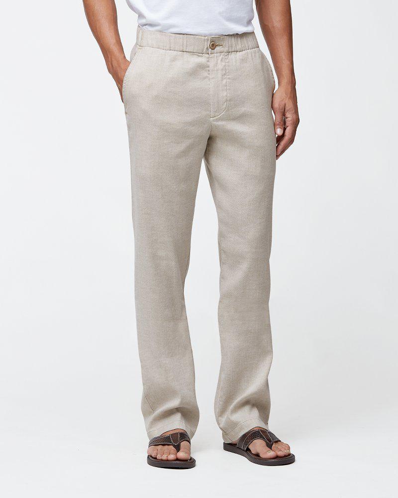 499895f816 Tommy Bahama. Men's Natural Big & Tall Beach Linen Elastic-waist Pants
