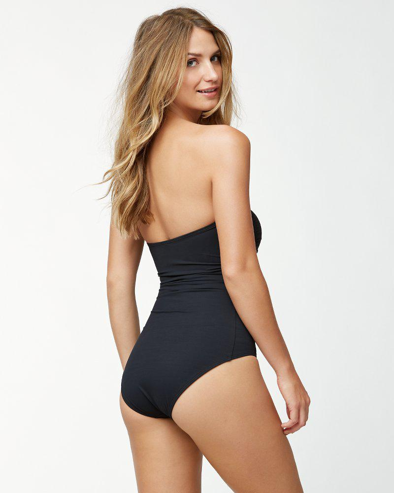01bc47adffb7f Lyst - Tommy Bahama Islandsculpttm V-front Bandeau One-piece Swimsuit in  Black