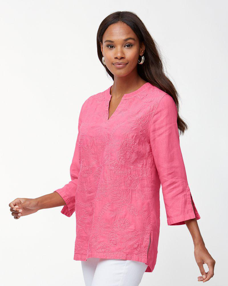 dfc159342cd Lyst - Tommy Bahama Monstera Mash Embroidered Linen Tunic in Pink
