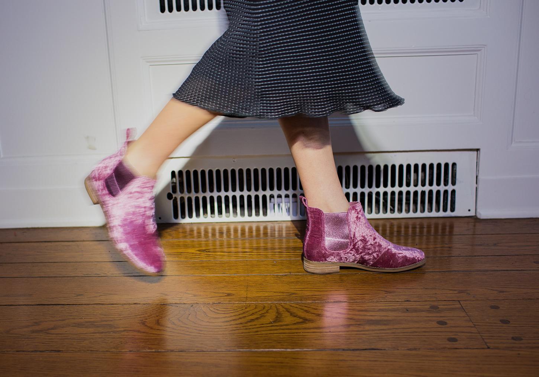 9b3c7542a8126b Lyst - TOMS Faded Rose Velvet Women s Ella Booties in Pink