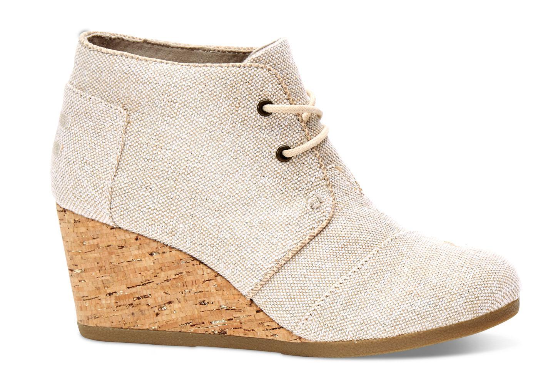 d3e52a2c02b4 TOMS Natural Metallic Linen Women s Desert Wedge Booties in Natural ...