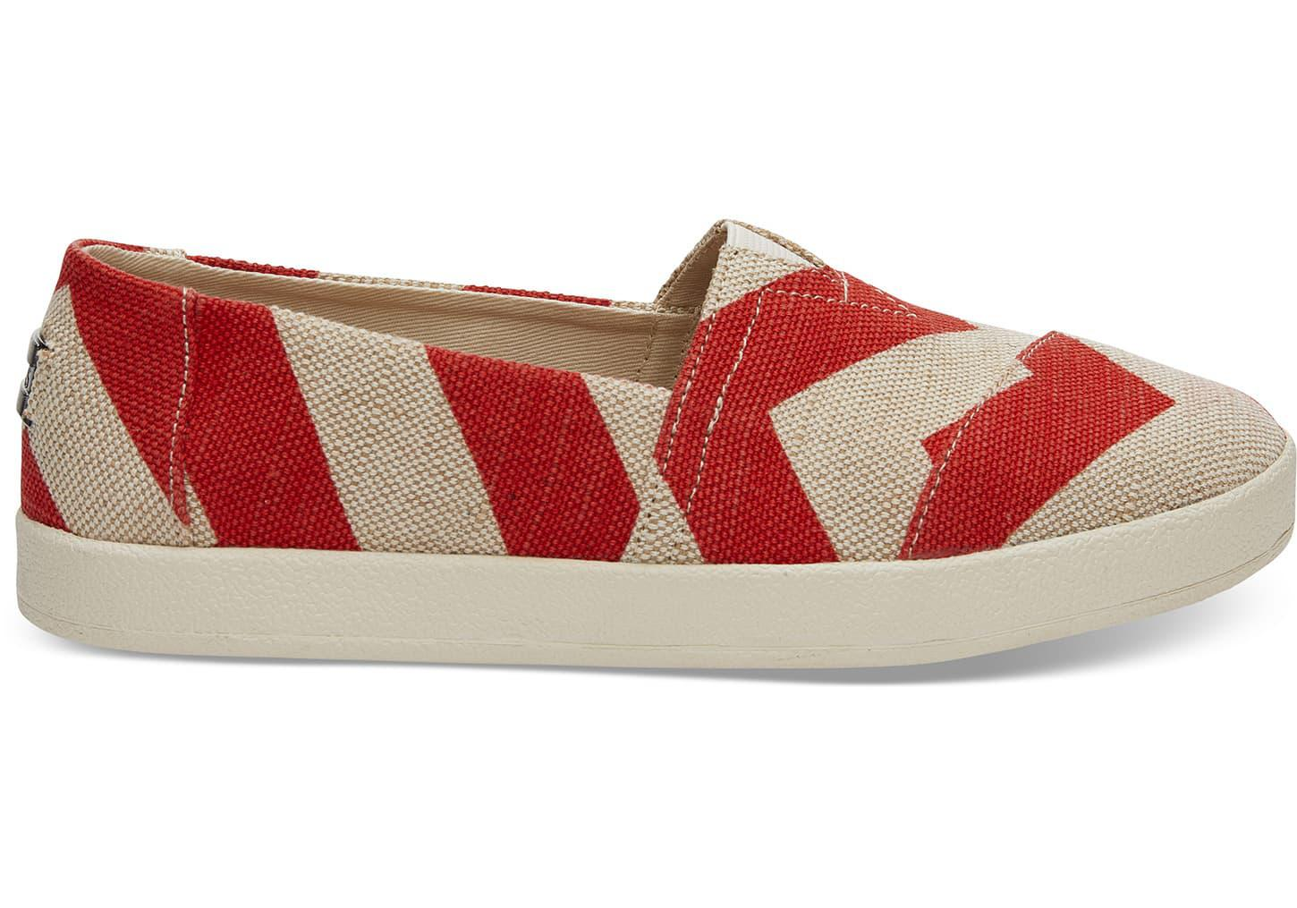 2c463bc11f6 TOMS Chili Zig Zag Women's Avalon Slip Ons in Red for Men - Lyst