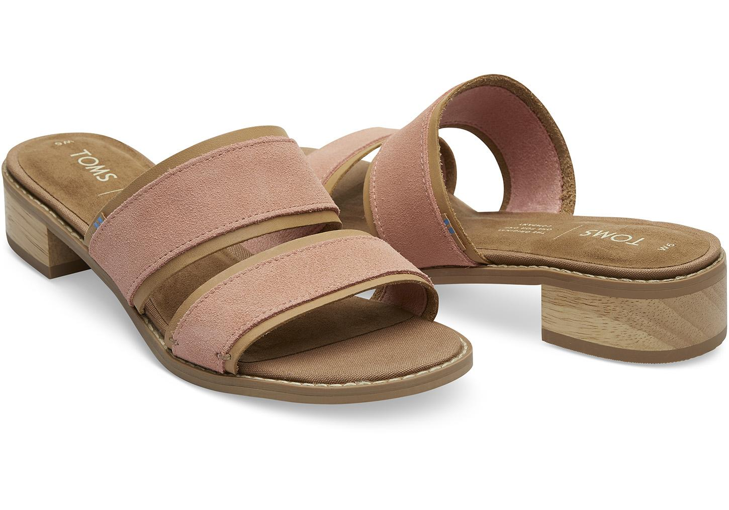 6c2cc7e07bf1 Lyst - TOMS Coral Pink Suede Mariposa Women s Sandals in Pink