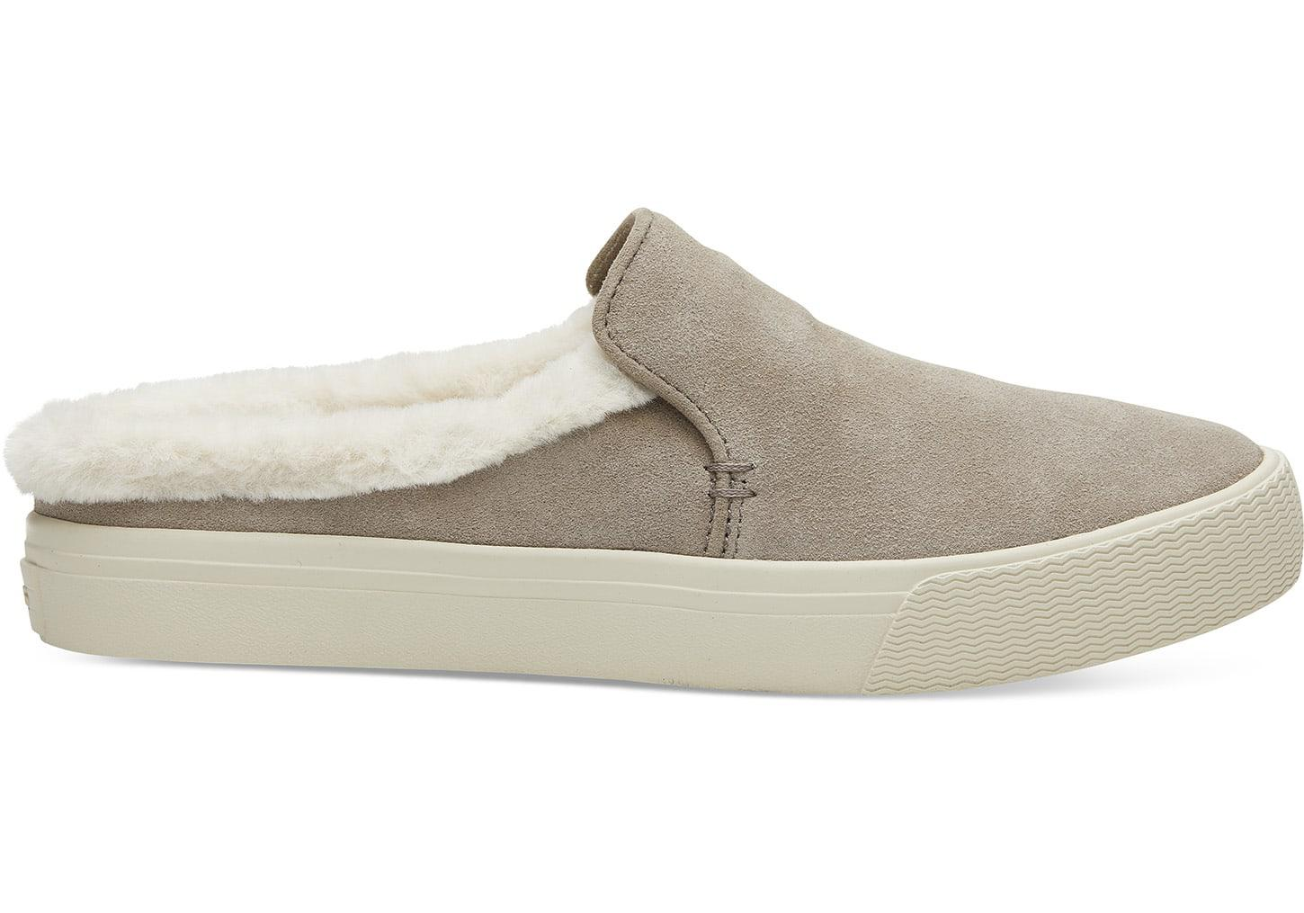 8089c77147ae TOMS Desert Taupe Suede And Faux Fur Women's Sunrise Mule Slip-ons ...