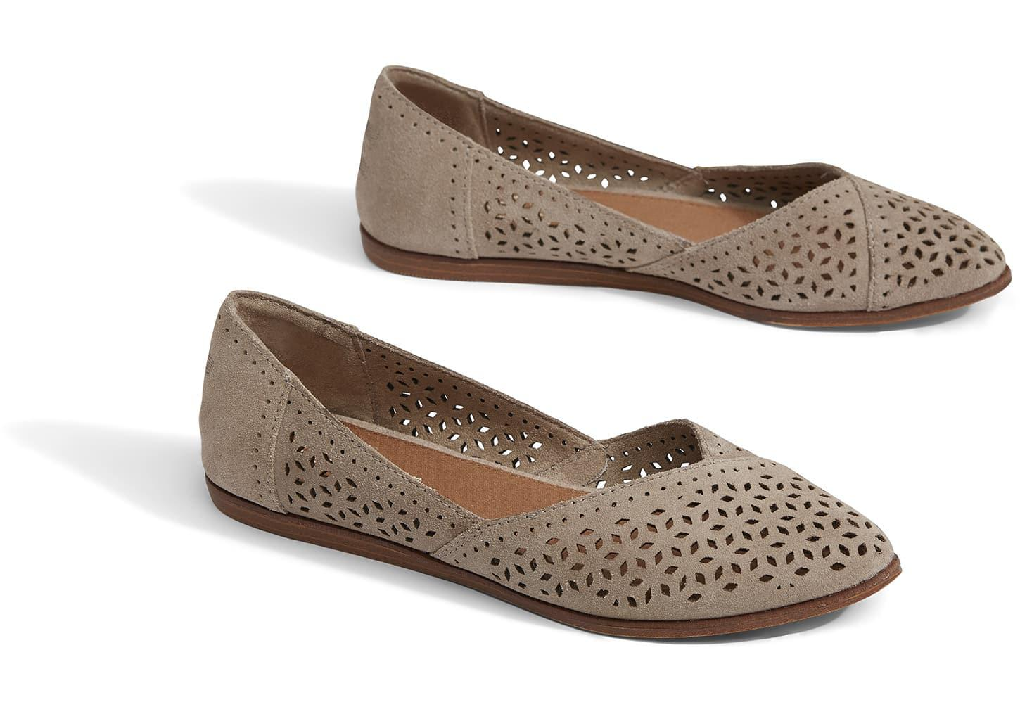 a891e36566ce TOMS - Multicolor Desert Taupe Perforated Suede Women s Jutti Flats for Men  - Lyst. View fullscreen