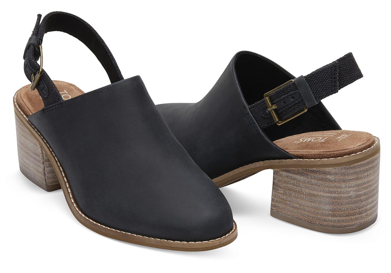 0631e7fa68e Lyst - TOMS Black Leather Women s Leila Slingback Booties in Black