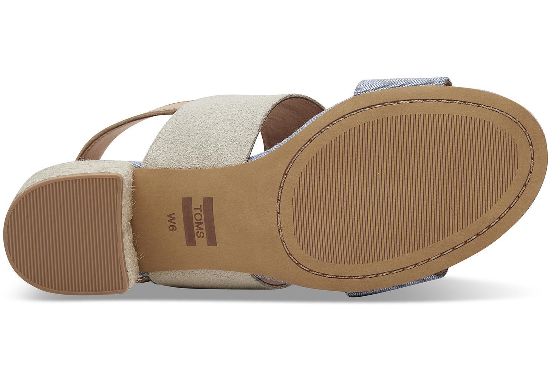 e9554349c4e Lyst - TOMS Birch Suede Blue Chambray Women s Poppy Sandals