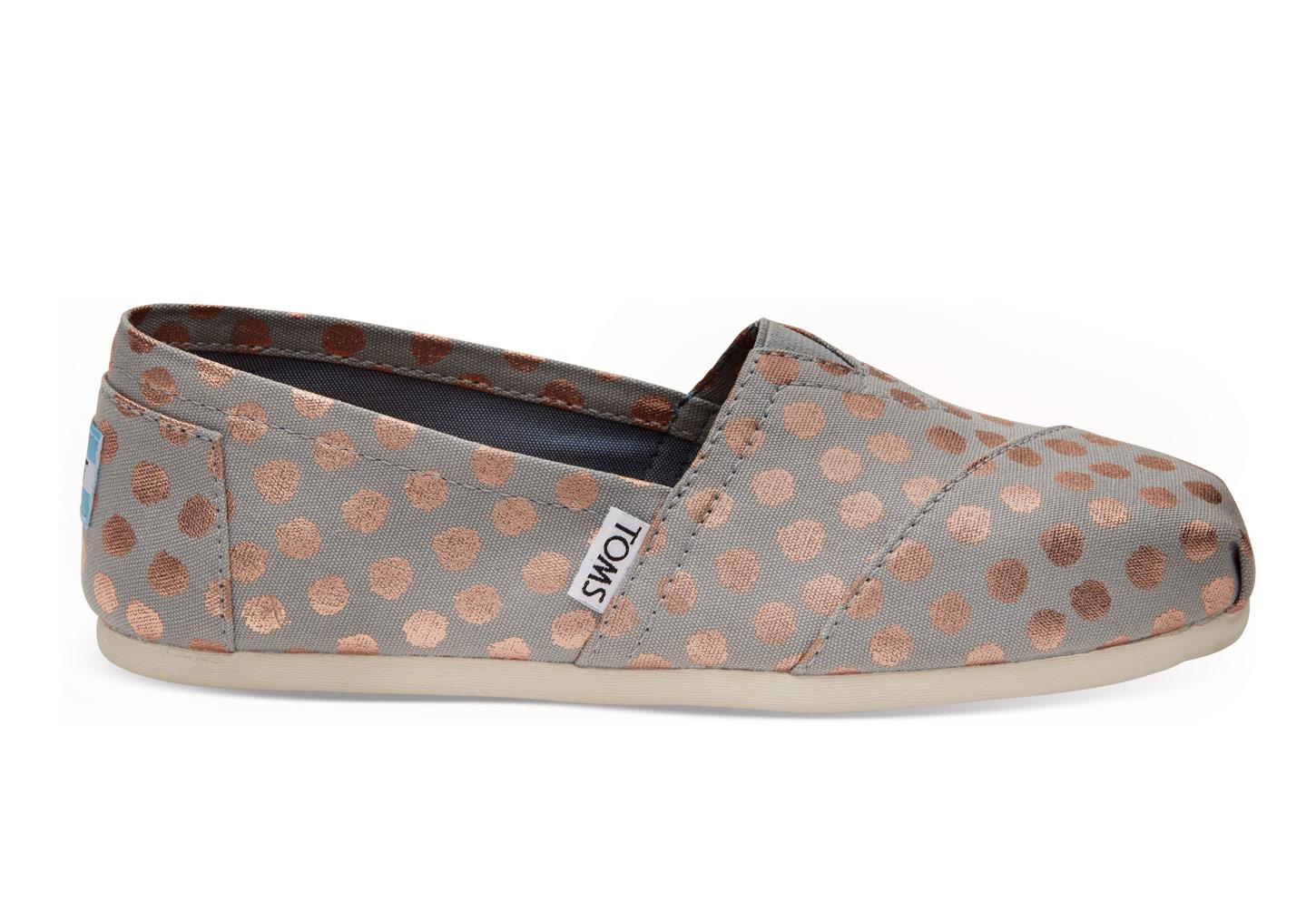 a516eb1075a Lyst - TOMS Drizzle Grey With Rose Gold Foil Polka Dot Women s ...