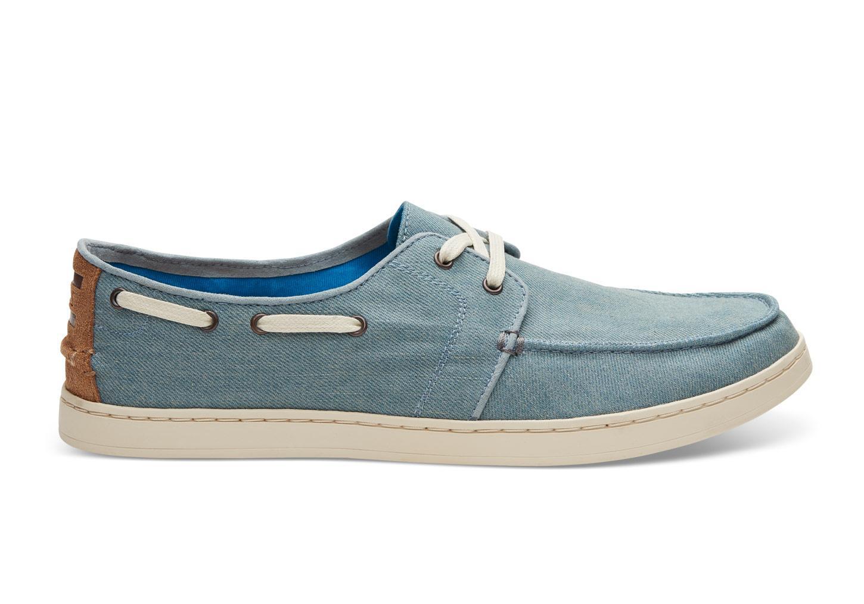 toms slate blue denim s culver boat shoes in blue for