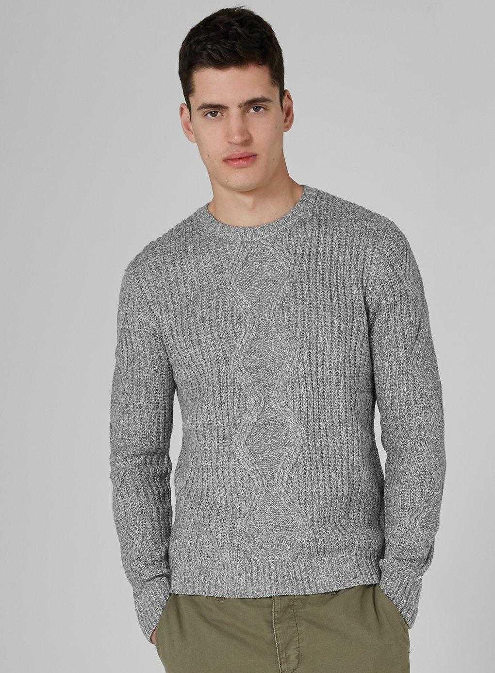 f1cb4d717f65 Topman And White Twist Cable Knit Jumper in Gray for Men - Lyst