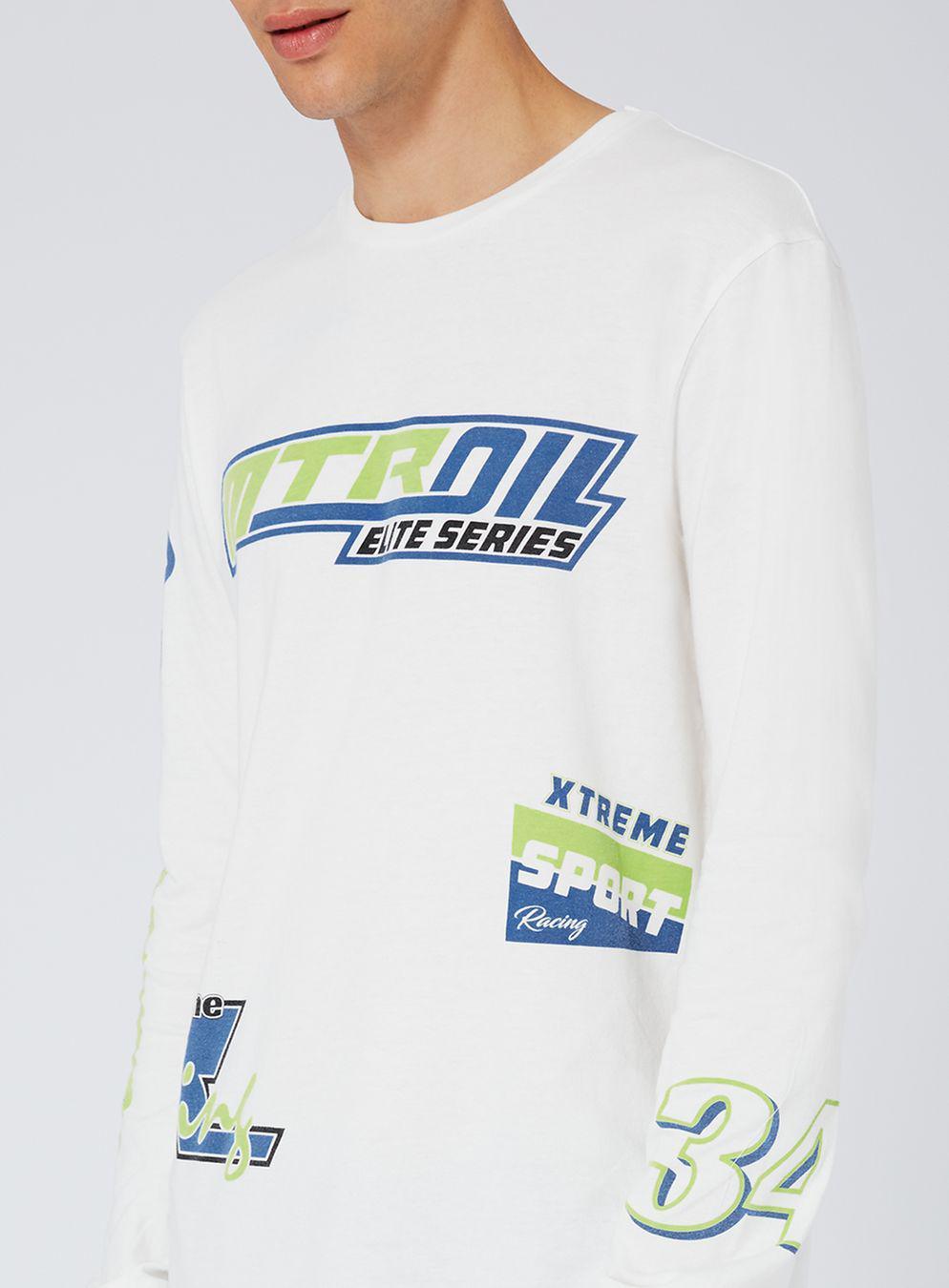 b23f6b77fba3 TOPMAN White Motocross Print Oversized Long Sleeve T-shirt in White ...