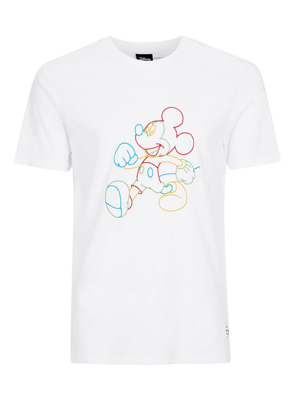 b6e3e397 TOPMAN White Mickey Mouse Print Slim Fit T-shirt in White for Men - Lyst