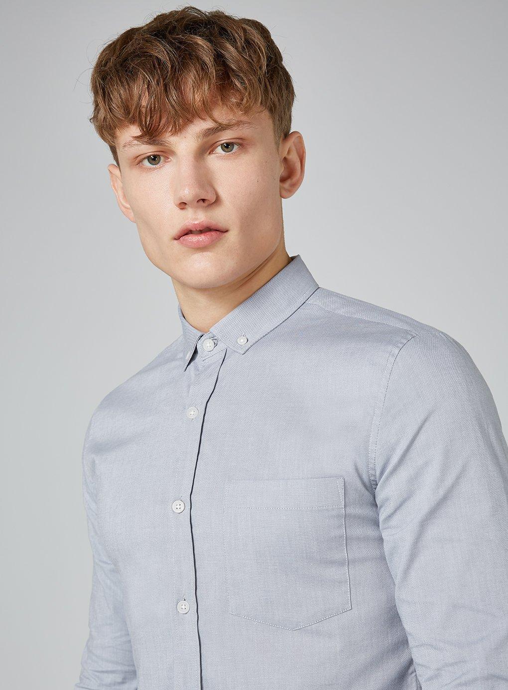 76fd9c904 Topman - Gray Muscle Fit Oxford Shirt for Men - Lyst. View fullscreen