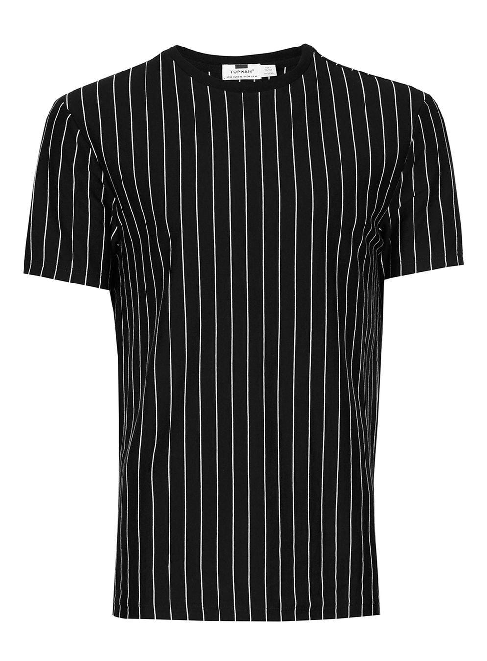 TOPMAN Cotton Black And White Vertical Stripe T-shirt for ...