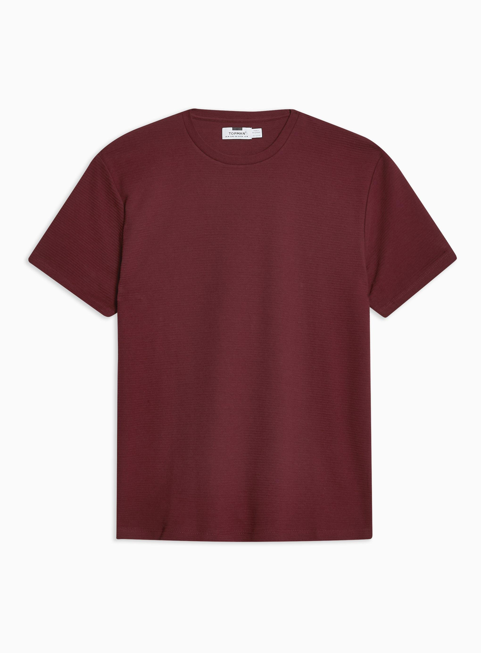 e3d8fb668b35 Topman - Red Burgundy Ottoman T-shirt for Men - Lyst. View fullscreen