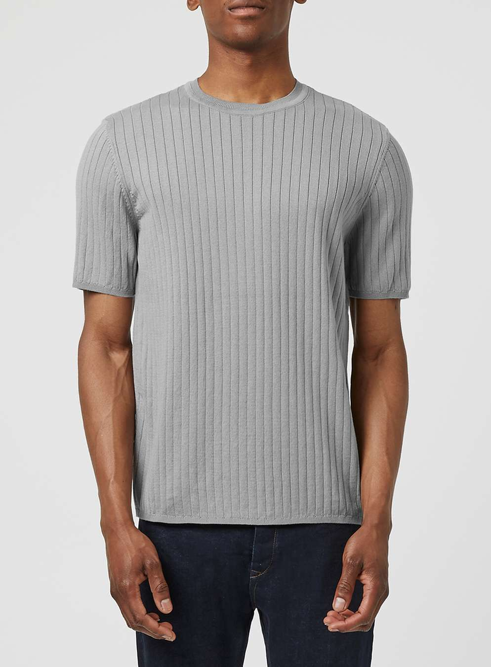 Topman grey ribbed textured knitted t shirt in gray for for Mens ribbed t shirts