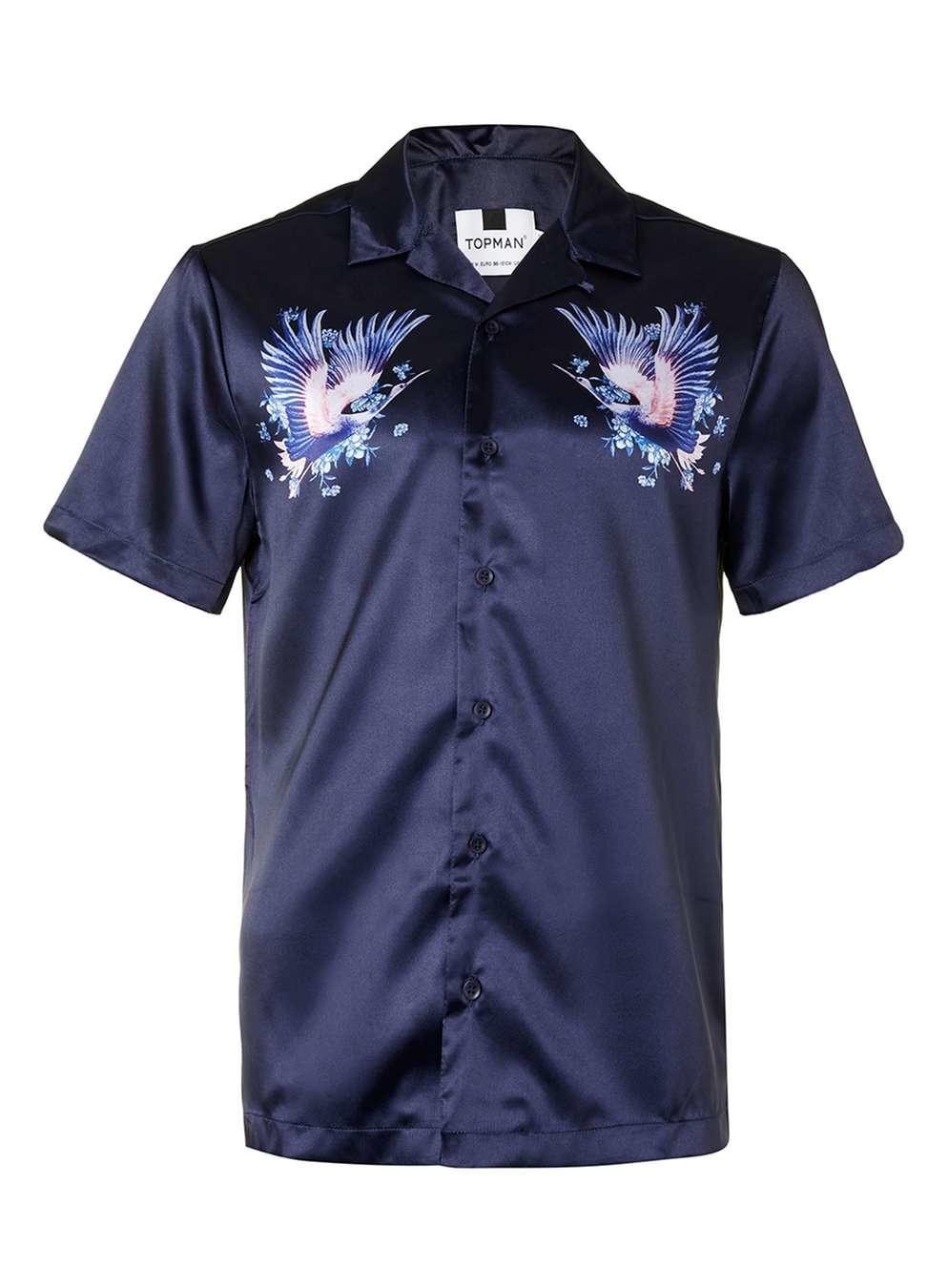 Topman Navy Heron Print Satin Feel Short Sleeve Casual