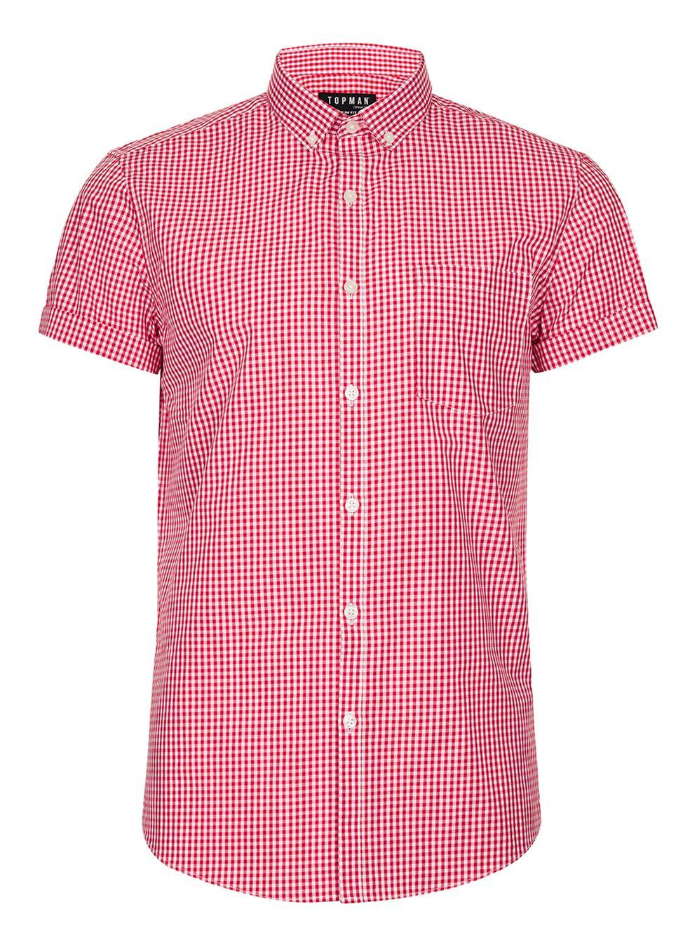 topman red and white gingham smart shirt in red for men lyst
