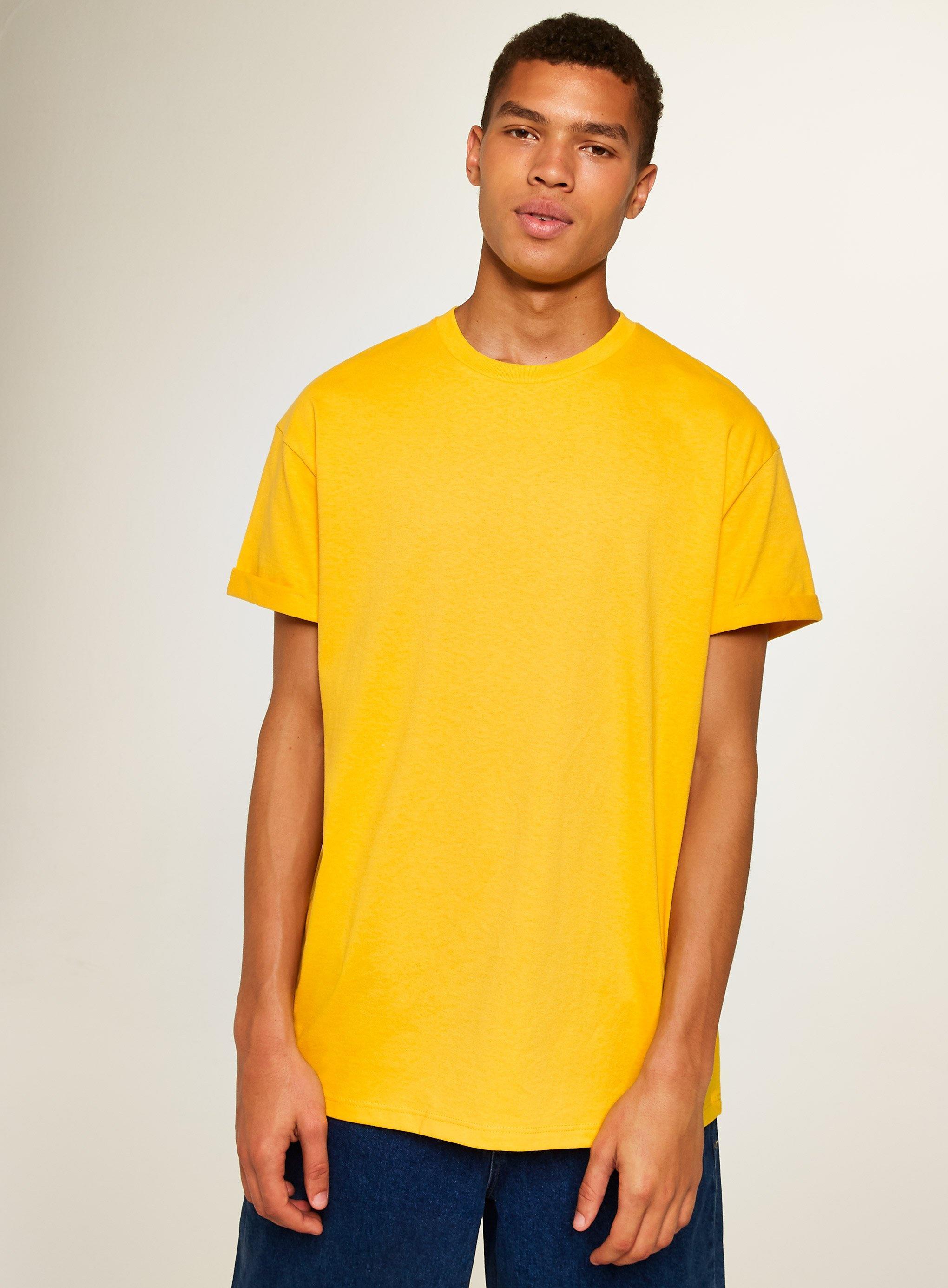 52e05345 TOPMAN Oversize Fit Roller T-shirt in Yellow for Men - Lyst