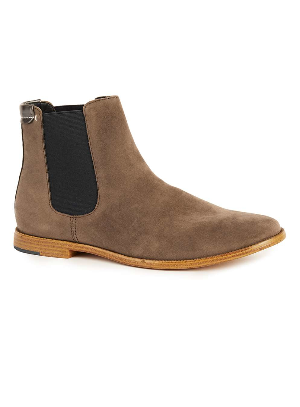 topman light brown faux suede chelsea boots in brown for