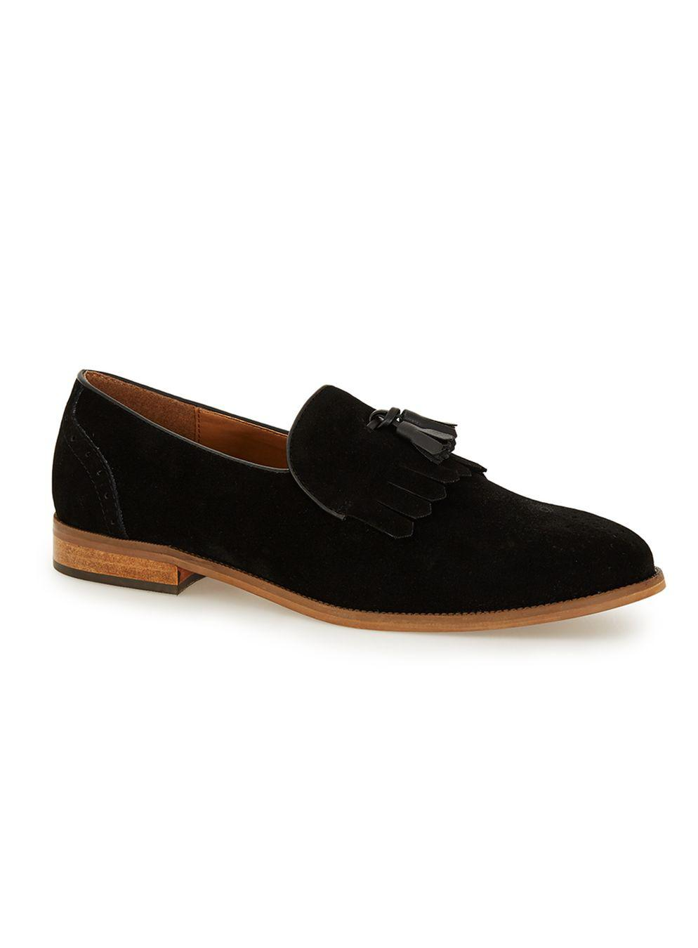 5110a554034 Lyst - TOPMAN Black Faux Suede Fringe Loafers in Black for Men