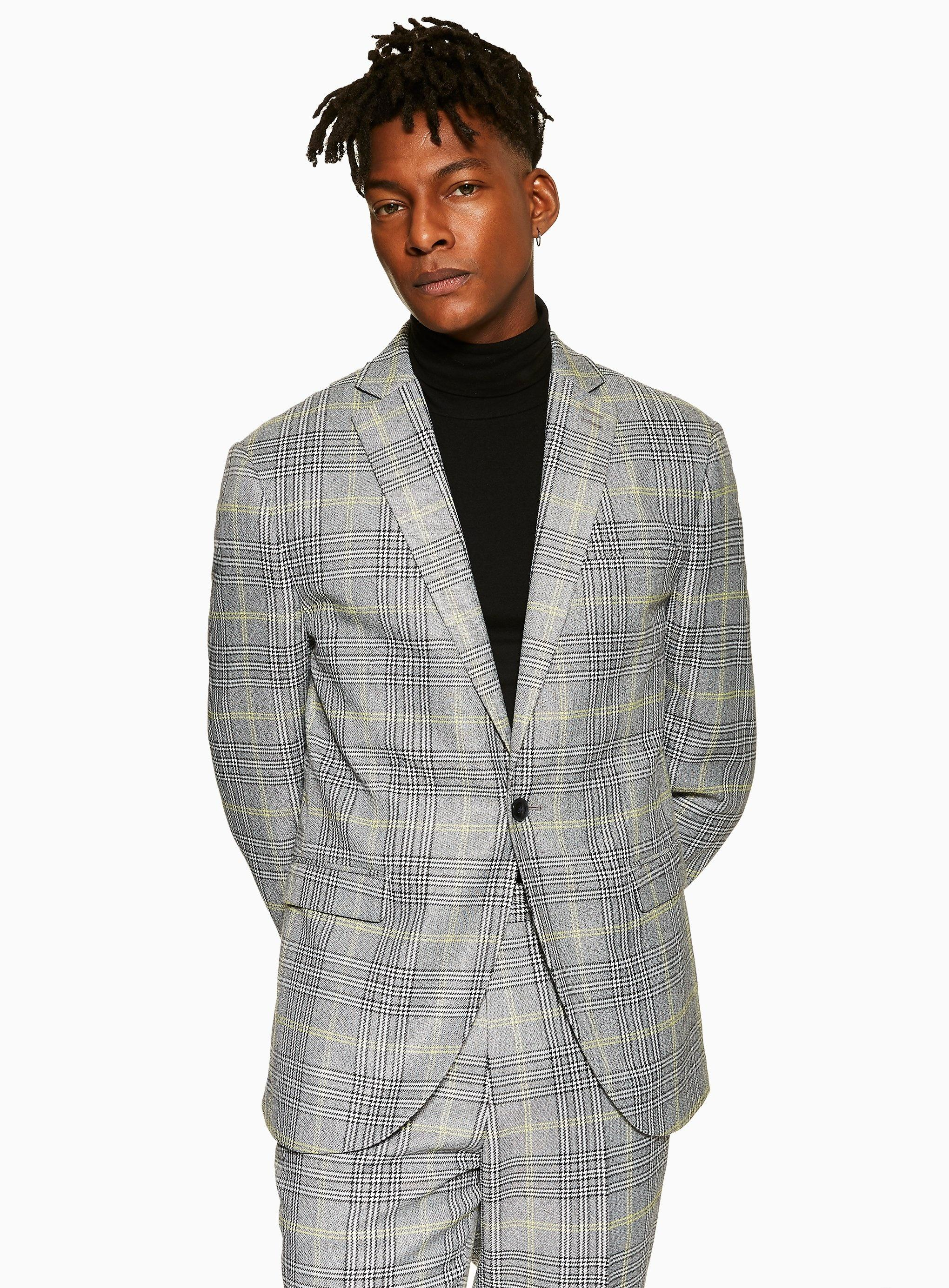 6e75811e43fc TOPMAN. Men's Gray Slim Fit Check Single Breasted Blazer With Notch Lapel