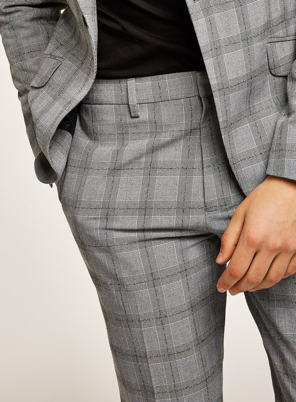 daa90af17ab7 Topman - Black And White Check Neppy Muscle Fit Suit Pant for Men - Lyst.  View fullscreen